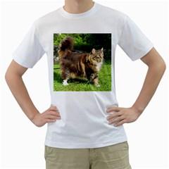 Norwegian Forest Cat Full  Men s T-Shirt (White) (Two Sided)