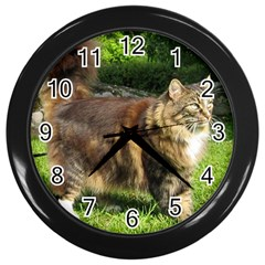 Norwegian Forest Cat Full  Wall Clocks (Black)