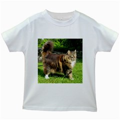 Norwegian Forest Cat Full  Kids White T-Shirts
