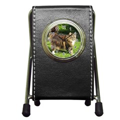 Norwegian Forest Cat Full  Pen Holder Desk Clocks