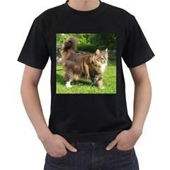 Norwegian Forest Cat Full  Men s T-Shirt (Black) (Two Sided)