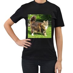 Norwegian Forest Cat Full  Women s T-Shirt (Black) (Two Sided)