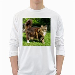Norwegian Forest Cat Full  White Long Sleeve T-Shirts