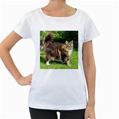Norwegian Forest Cat Full  Women s Loose-Fit T-Shirt (White)