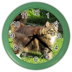 Norwegian Forest Cat Full  Color Wall Clocks