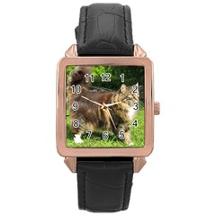 Norwegian Forest Cat Full  Rose Gold Leather Watch
