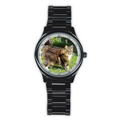 Norwegian Forest Cat Full  Stainless Steel Round Watch
