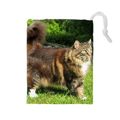 Norwegian Forest Cat Full  Drawstring Pouches (Large)