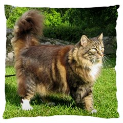 Norwegian Forest Cat Full  Large Flano Cushion Case (Two Sides)