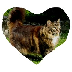 Norwegian Forest Cat Full  Large 19  Premium Flano Heart Shape Cushions