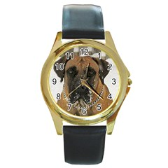 Boerboel  Round Gold Metal Watch