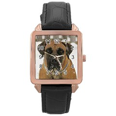 Boerboel  Rose Gold Leather Watch