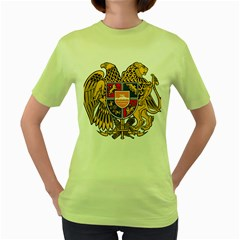 Coat of Arms of Armenia Women s Green T-Shirt
