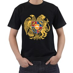 Coat of Arms of Armenia Men s T-Shirt (Black) (Two Sided)