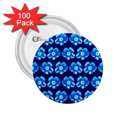 Turquoise Blue Flower Pattern On Dark Blue 2.25  Buttons (100 pack)