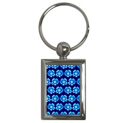 Turquoise Blue Flower Pattern On Dark Blue Key Chains (Rectangle)