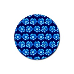 Turquoise Blue Flower Pattern On Dark Blue Rubber Round Coaster (4 pack)