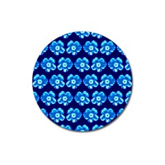 Turquoise Blue Flower Pattern On Dark Blue Magnet 3  (Round)