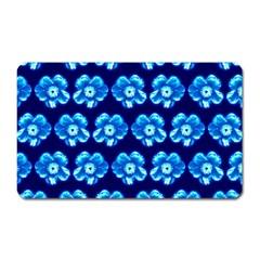 Turquoise Blue Flower Pattern On Dark Blue Magnet (Rectangular)