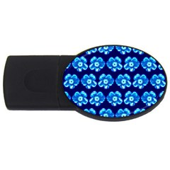Turquoise Blue Flower Pattern On Dark Blue USB Flash Drive Oval (2 GB)