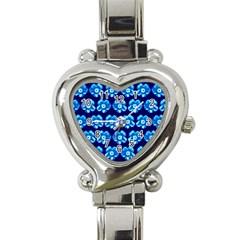 Turquoise Blue Flower Pattern On Dark Blue Heart Italian Charm Watch