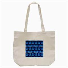 Turquoise Blue Flower Pattern On Dark Blue Tote Bag (Cream)
