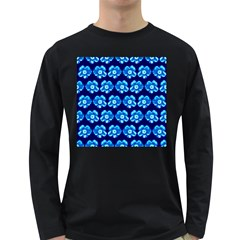 Turquoise Blue Flower Pattern On Dark Blue Long Sleeve Dark T-Shirts