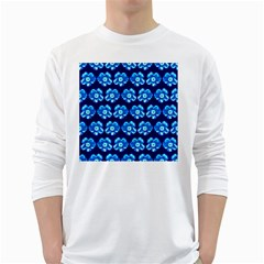 Turquoise Blue Flower Pattern On Dark Blue White Long Sleeve T-Shirts