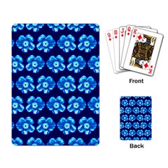 Turquoise Blue Flower Pattern On Dark Blue Playing Card
