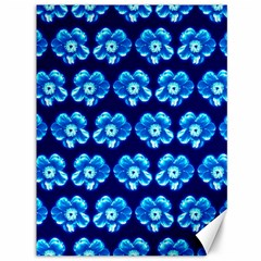 Turquoise Blue Flower Pattern On Dark Blue Canvas 36  x 48