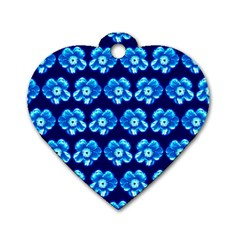 Turquoise Blue Flower Pattern On Dark Blue Dog Tag Heart (Two Sides)