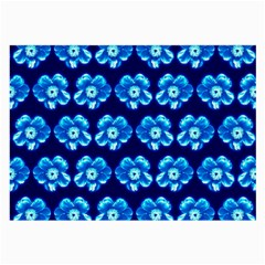 Turquoise Blue Flower Pattern On Dark Blue Large Glasses Cloth