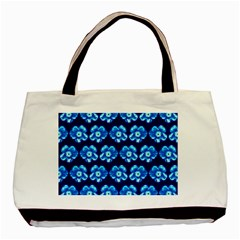 Turquoise Blue Flower Pattern On Dark Blue Basic Tote Bag (Two Sides)