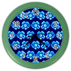 Turquoise Blue Flower Pattern On Dark Blue Color Wall Clocks