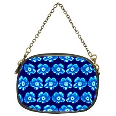Turquoise Blue Flower Pattern On Dark Blue Chain Purses (Two Sides)