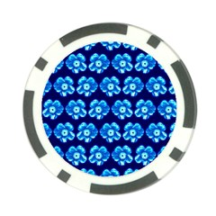 Turquoise Blue Flower Pattern On Dark Blue Poker Chip Card Guards (10 pack)