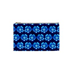 Turquoise Blue Flower Pattern On Dark Blue Cosmetic Bag (Small)
