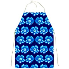 Turquoise Blue Flower Pattern On Dark Blue Full Print Aprons