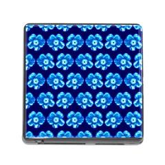 Turquoise Blue Flower Pattern On Dark Blue Memory Card Reader (Square)