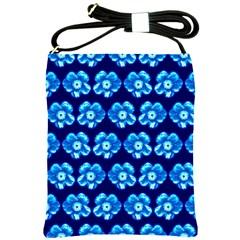 Turquoise Blue Flower Pattern On Dark Blue Shoulder Sling Bags
