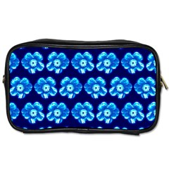 Turquoise Blue Flower Pattern On Dark Blue Toiletries Bags