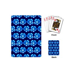 Turquoise Blue Flower Pattern On Dark Blue Playing Cards (Mini)