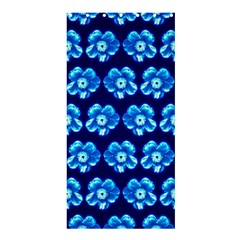Turquoise Blue Flower Pattern On Dark Blue Shower Curtain 36  x 72  (Stall)