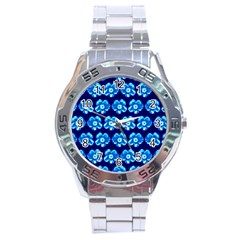 Turquoise Blue Flower Pattern On Dark Blue Stainless Steel Analogue Watch