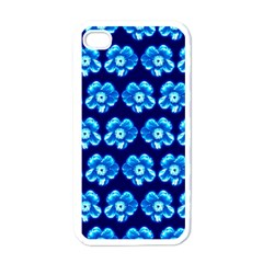 Turquoise Blue Flower Pattern On Dark Blue Apple iPhone 4 Case (White)