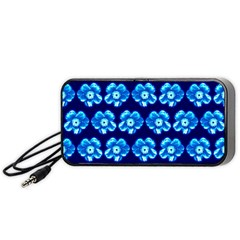 Turquoise Blue Flower Pattern On Dark Blue Portable Speaker (Black)
