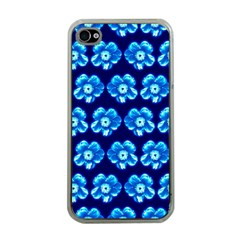 Turquoise Blue Flower Pattern On Dark Blue Apple iPhone 4 Case (Clear)