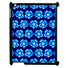 Turquoise Blue Flower Pattern On Dark Blue Apple iPad 2 Case (Black)
