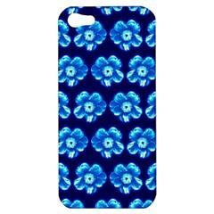 Turquoise Blue Flower Pattern On Dark Blue Apple iPhone 5 Hardshell Case