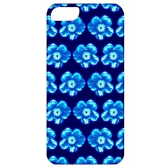 Turquoise Blue Flower Pattern On Dark Blue Apple iPhone 5 Classic Hardshell Case